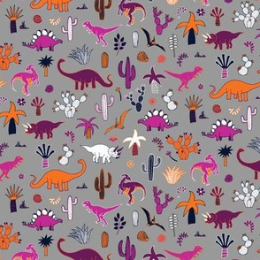 Dinosaur Desert  - purple & orange on grey - medium - small