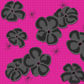 Painted Poppies Gray-Black on Fuchsia