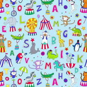 Animal Circus Alphabet - multi on sky blue - Medium - small
