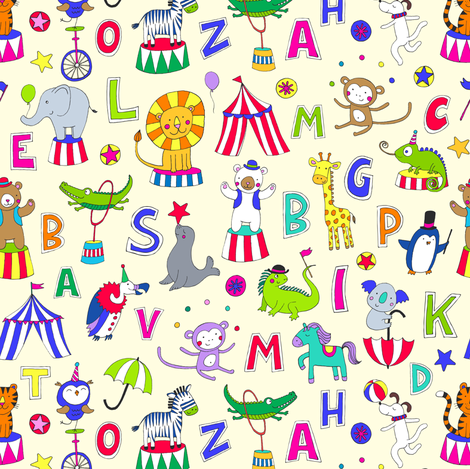 Animal Circus Alphabet - multi on cream - Medium - small fabric by cecca on Spoonflower - custom fabric