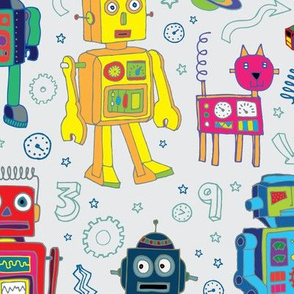 Robots in Space - on grey - Large