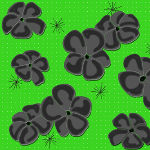 Painted Poppies Gray-Black on Lime