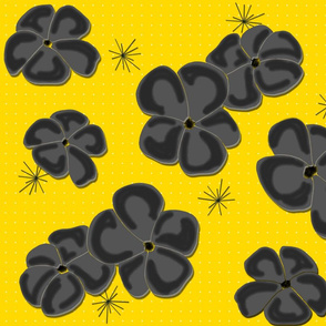 Painted Poppies Gray-Black on Yellow