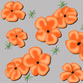 Painted Poppies Orange on Gray