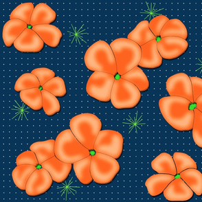 Painted Poppies Orange on Navy Blue