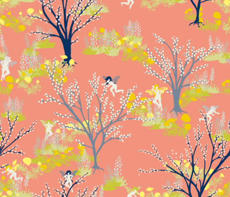 ancient fey orchard coral fabric by whatever-works on Spoonflower - custom fabric