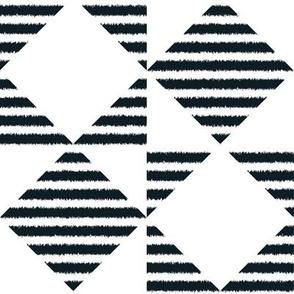 Furry Black and White Counterchanged Diamond Boxes