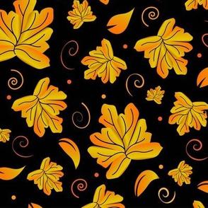 Fallling Leaves Black