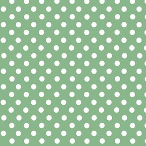 Green and white polkadots