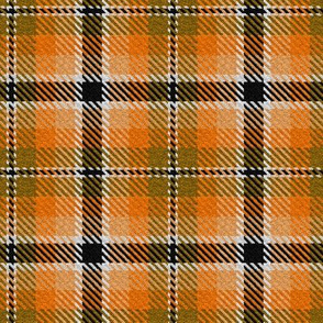 Orange Tan Peach with Black and a dash of White Plaid