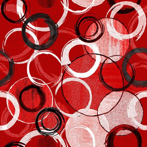 Hand Painted Circles RED