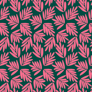 Bold coral leaves on bottle green