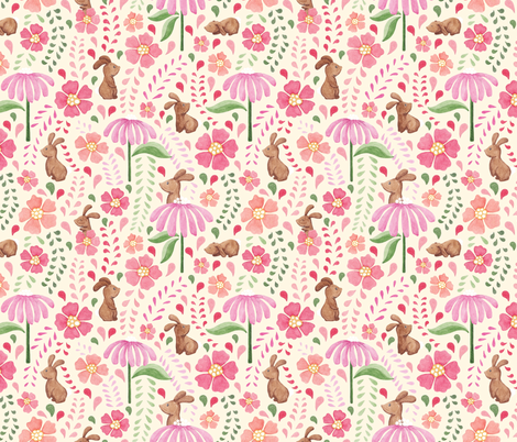 Bunny floral - multicolour on cream fabric by jenuine_designs on Spoonflower - custom fabric
