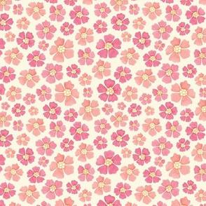 Bunny floral companion - pink on cream