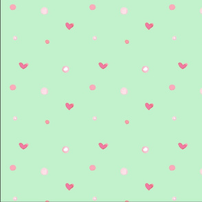 pink hearts and pink dots