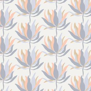 Soft, modern and stylised floral on cream