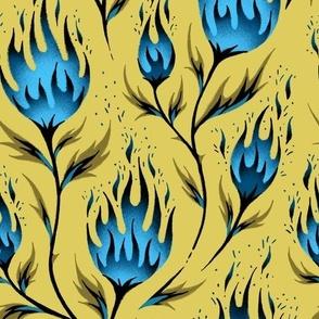 Fire Flower - Gold Blue