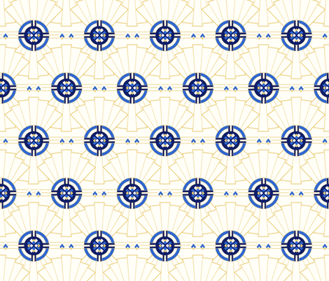 art deco fans - blue fabric by vivdesign on Spoonflower - custom fabric