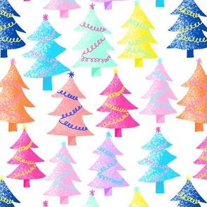 decorated rainbow Christmas trees