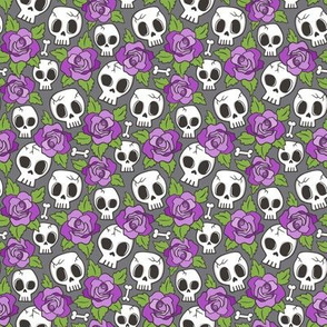 Skulls and Roses Purple on Dark Grey Tiny Small 1 inch