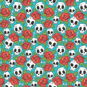 Skulls and Roses Red on Blue Tiny Small 1 inch