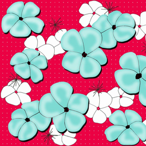 Painted Poppies Aqua and White on Red