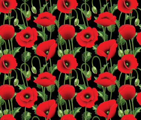Poppies fabric by elenashow on Spoonflower - custom fabric