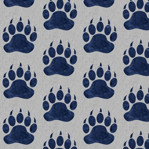 "5"" Bear Paws - Navy on light grey linen"