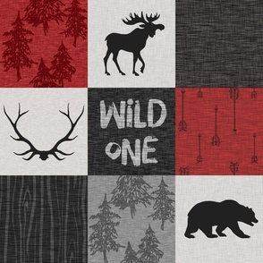 Wild One Quilt B -  red, black and grey - woodland moose
