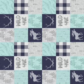 """3"""" Wild One Wholecloth Quilt - Mint, navy and grey"""