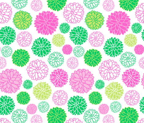 Flower power - pink and green fabric by vivdesign on Spoonflower - custom fabric