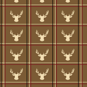 Cream Deer Stag silhouette on plaid Tan