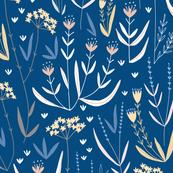 Wildflower Meadow // navy blue botanical