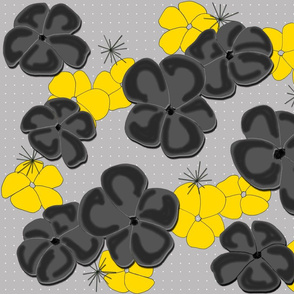 Painted Poppies Black and   Yellow on Gray