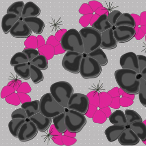 Painted Poppies Black and Fuchsia on Gray