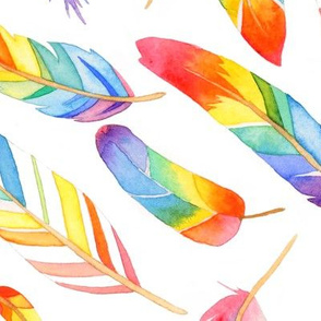 Rainbow feathers - larger scale
