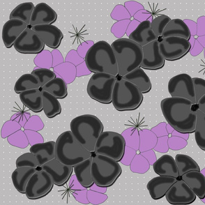 Painted Poppies Black and Lilac on Gray