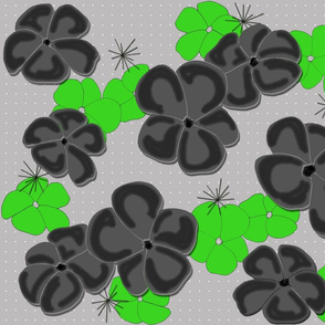 Painted Poppies Black and Lime on Gray