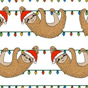 LARGE - christmas sloth // cute xmas holiday christmas fabric, sloth, father christmas, santa claus, cute animals - white