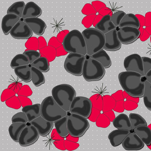 Painted Poppies Black and Red on Gray