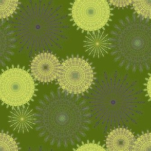 Fiesta Mandala - Forest Green with Lime