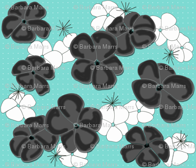 Painted Poppies Black and White on Aqua