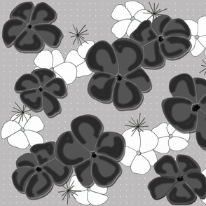 Painted Poppies Black and White on Gray
