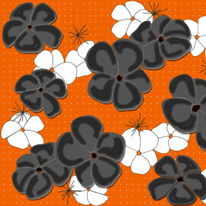 Painted Poppies Black and White on Orange
