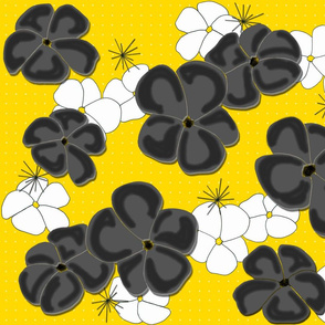 Painted Poppies Black and White on Yellow