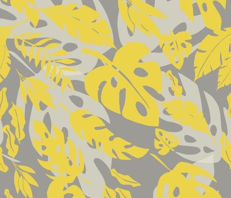 tropical golden grey fabric by ninenineteen on Spoonflower - custom fabric