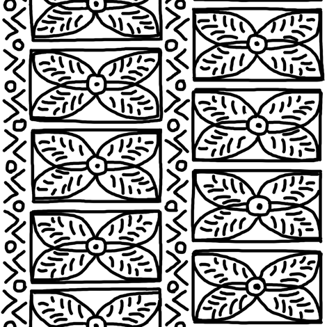 Black on White Mudcloth Inspired 14 fabric by eclectic_house on Spoonflower - custom fabric