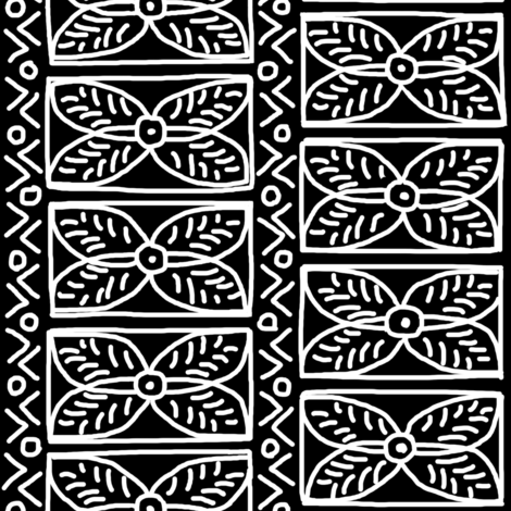 White on Black Mudcloth Inspired 14 fabric by eclectic_house on Spoonflower - custom fabric