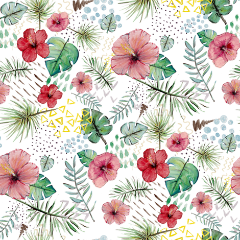 Watercolor tropical white fabric by carola_koberstein on Spoonflower - custom fabric