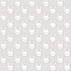 tiny bunny-faces-with-vintage pink hearts-on-grey